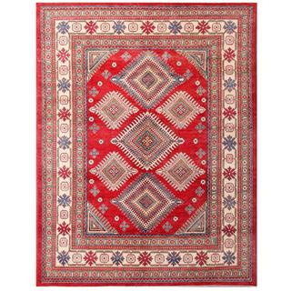 Herat Oriental Afghan Hand-knotted Kazak Red/ Ivory Wool Area Rug (8'3 x 10'6)