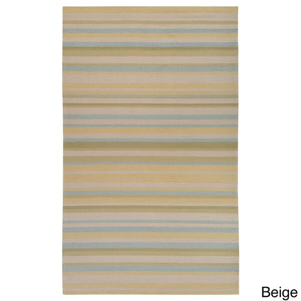 Hand hooked Shailene Striped Casual Indoor Outdoor Area