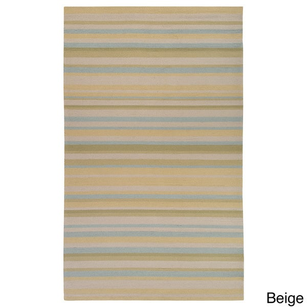 Hand-hooked Shailene Striped Casual Indoor/ Outdoor Area Rug - 9' x 12'