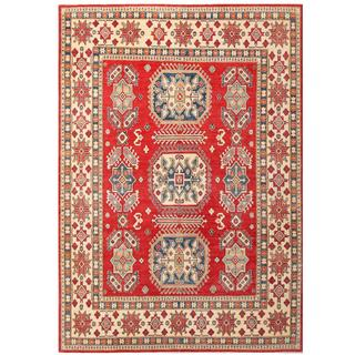 Herat Oriental Afghan Hand-knotted Kazak Red/ Ivory Wool Area Rug (9'1 x 12'11)