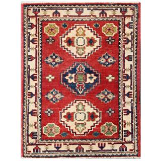 Herat Oriental Afghan Hand-knotted Kazak Red/ Ivory Wool Rug (2'1 x 2'9)