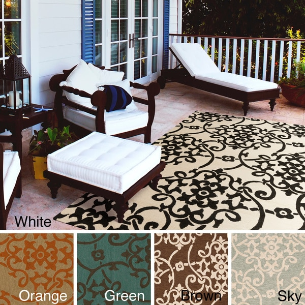 Hand-hooked Kiera Transitional Floral Indoor/ Outdoor Area Rug - 9' x 12'
