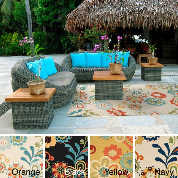 Hand hooked Kim Transitional Floral Indoor Outdoor Area