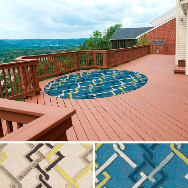 Contemporary Outdoor Area Rugs: Hand-hooked Angelina Contemporary Geometric Indoor