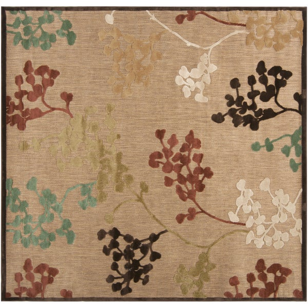 """Patsy Transitional Floral Indoor/ Outdoor Area Rug - 7'6"""" Square/Surplus"""