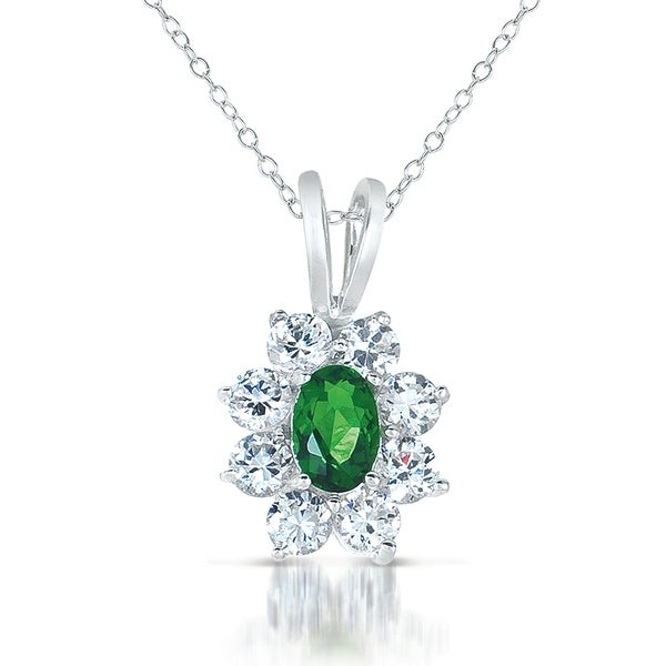 Collette Z Sterling Silver Green Cubic Zirconia Flower Shape Necklace