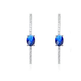 Collette Z Sterling Silver Cubic Zirconia Blue and White Hoop Style Earrings