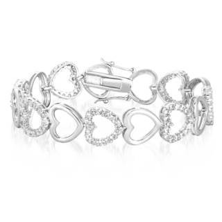 Collette Z Sterling Silver Cubic Zirconia Heart Bracelet