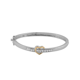 Collette Z Two Tone Sterling Silver Cubic Zirconia Heart-shape Bangle
