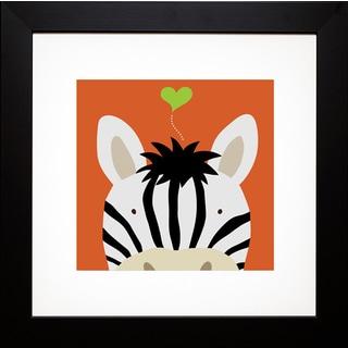 Yuko Lau 'Peek-a-Boo Zebra ' Framed Art Print