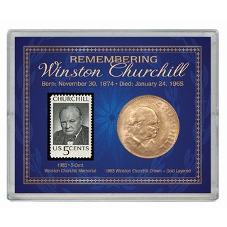 American Coin Treasures Remembering Winston Churchill Stamp and Coin Case