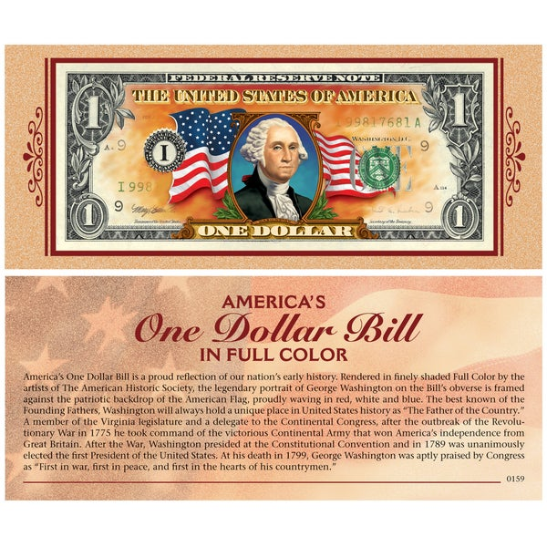 American Coin Treasures Colorized One Dollar Bill