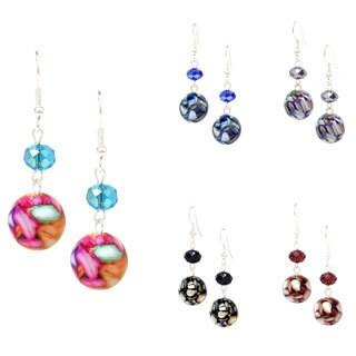 Bleek2Sheek Rainbow Mother of Pearl Mosaic Marble and Crystal Dangle Earrings