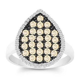 La Preciosa Sterling Silver White and Champagne Cubic Zirconia Teardrop Ring