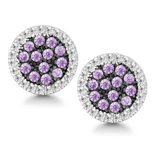La Preciosa Sterling Silver White and Purple Cubic Zirconia Circle Stud Earrings