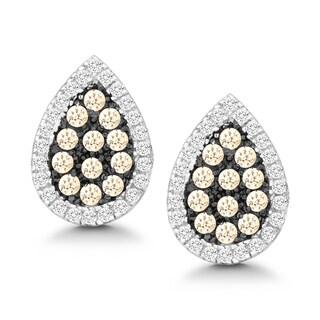 La Preciosa Sterling Silver White and Champagne Cubic Zirconia Teardrop Stud Earrings