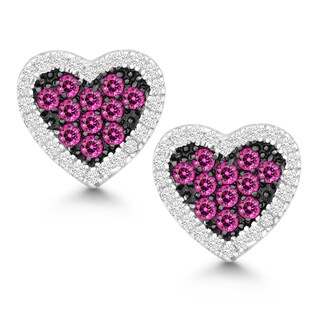 La Preciosa Sterling Silver White and Pink Cubic Zirconia Heart Stud Earrings