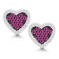 La Preciosa Sterling Silver White and Pink Cubic Zirconia Heart Stud Earrings