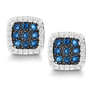 La Preciosa Sterling Silver White and Blue Cubic Zirconia Square Stud Earrings