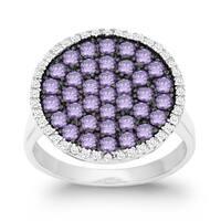 La Preciosa Sterling Silver White and Purple Cubic Zirconia Circle Ring