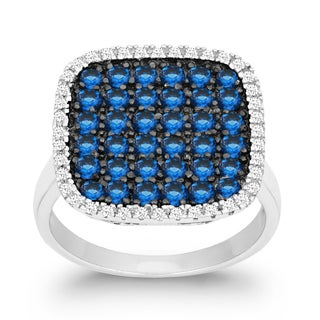 La Preciosa Sterling Silver White and Blue Cubic Zirconia Square Ring