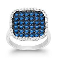 La Preciosa Sterling Silver White and Blue Cubic Zirconia Square Ring