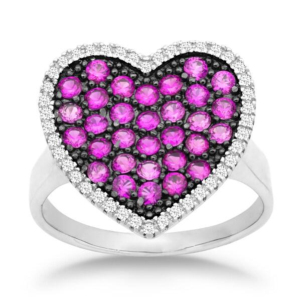 La Preciosa Sterling Silver White and Pink Cubic Zirconia Heart Ring