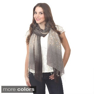 Ari Taupe and Grey Embroidered Shawl