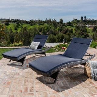 Toscana Outdoor Cushioned Wicker Chaise Lounge By Christopher Knight Home  (Set Of 2) (