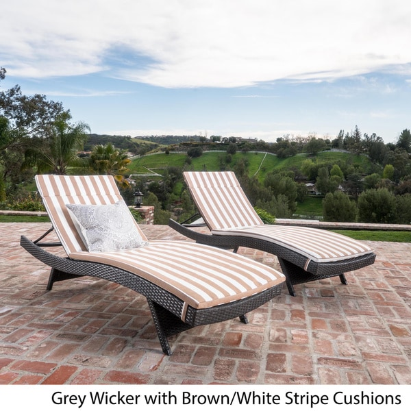 Toscana Outdoor Cushioned Wicker Chaise Lounge by Christopher Knight Home (Set of 2) - Free Shipping Today - Overstock.com - 16300694 : white wicker chaise lounge - Sectionals, Sofas & Couches