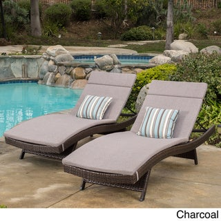 Toscana Outdoor Wicker Adjustable Chaise Lounge with Cushion (Set of 2) by Christopher Knight Home