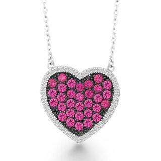 La Preciosa Sterling Silver White and Pink Cubic Zirconia Heart Necklace