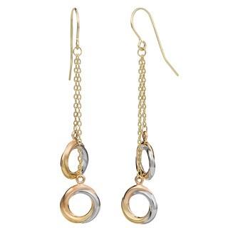 Fremada 10k Tri-color Gold Love Knot Drop Earrings
