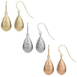 Fremada Women's 10k Gold Diamond-cut Pear Drop Color Earrings