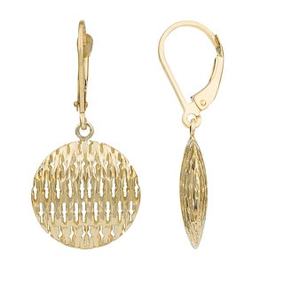 Fremada 10k Gold Textured Puffed Round Disc Leverback Earrings