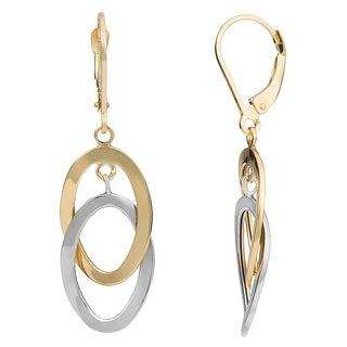Fremada 10k Two-tone Gold Interlocking Twist Ovals Leverback Earrings