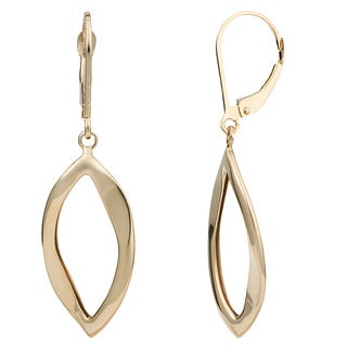 Fremada 10k Yellow Gold Leverback Marquise Dangle Earrings