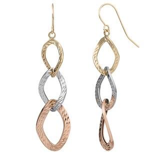 Fremada 10k Tri-color Gold Graduated Diamond-cut Twist Ovals Drop Earrings