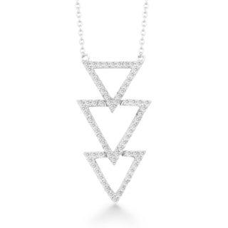 La Preciosa Sterling Silver Cubic Zirconia Triple Triangle Necklace