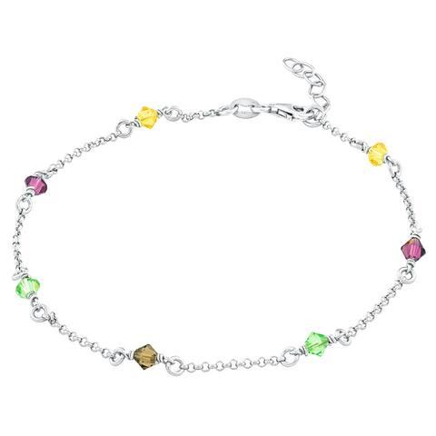 La Preciosa Sterling Silver Multi-colored Crystals Anklet