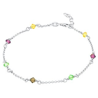 La Preciosa Sterling Silver Multi-colored Crystals Anklet
