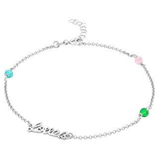 "La Preciosa Sterling Silver Multi-Colored Crystals ""Love"" Anklet"