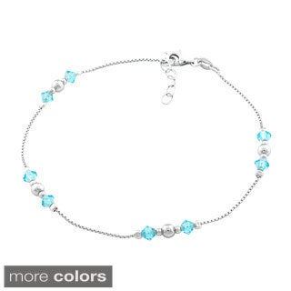 La Preciosa Sterling Silver Link-chain Crystal Anklet