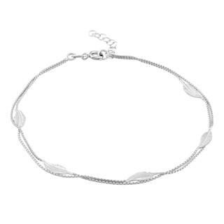 La Preciosa Sterling Silver Leaf Design Anklet