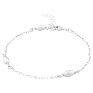 La Preciosa Sterling Silver Diamond-cut Oval Beads Anklet