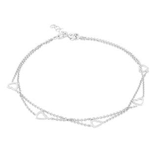 La Preciosa Sterling Silver Double-strand Multi-heart Anklet