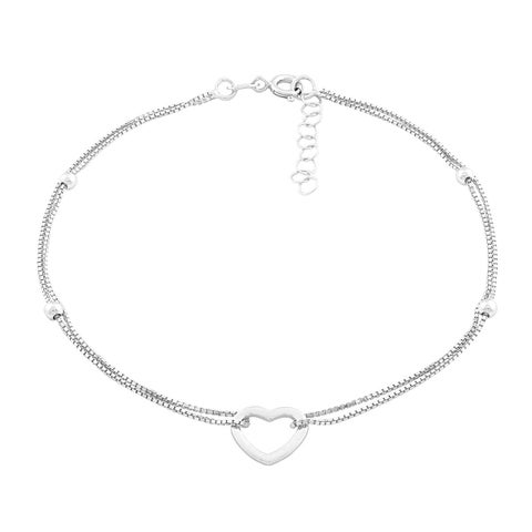 La Preciosa Sterling Silver Double-strand Heart Anklet