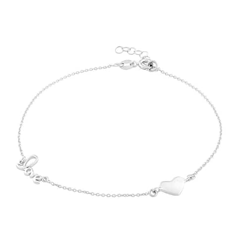 La Preciosa Sterling Silver Heart and Love Anklet