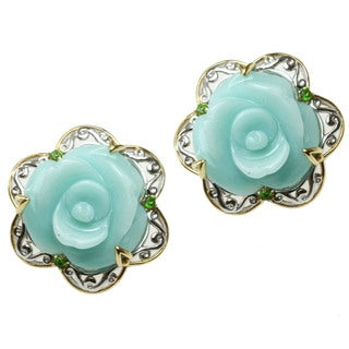 Michael Valitutti Two-tone Amazonite and Chrome Diopside 'Flower' Earrings