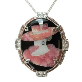 "Michael Valitutti Two-tone Rhodocrosite, Mother of Pearl and Black Onyx Inlay and Pink Sapphire and Rock Crystal ""Lady"" Necklace"